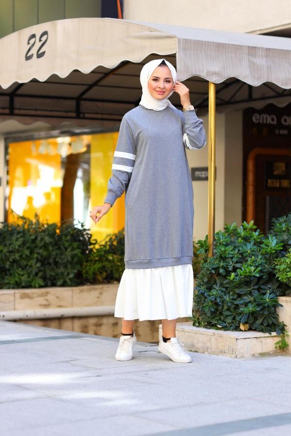 Fırfırlı Şerit Detaylı Tesettür Elbise Füme