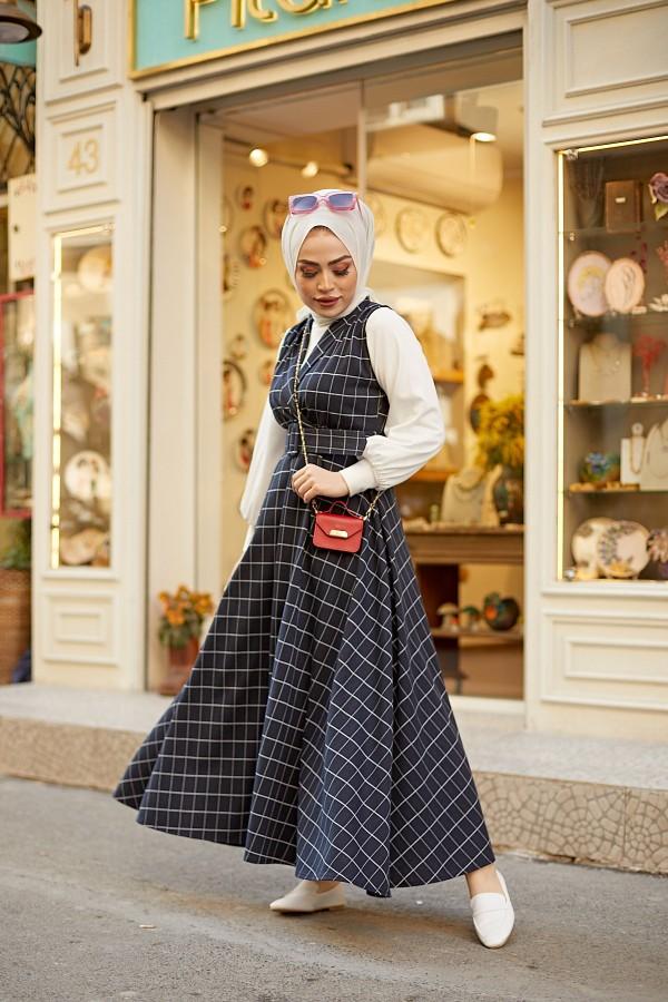 Kare Desen Jile  Elbise Tesettür Kombin Siyah