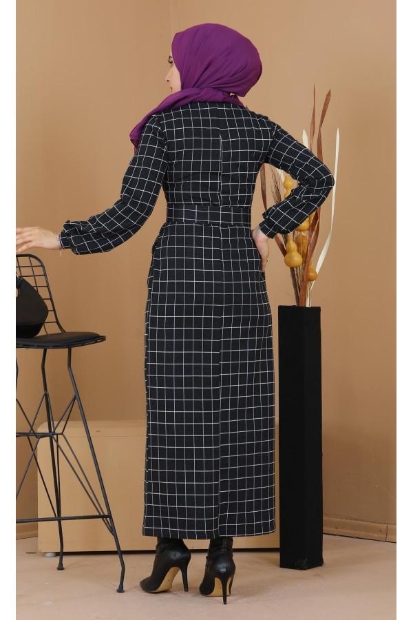 Kemerli Kare Desen Tesettür Elbise Siyah